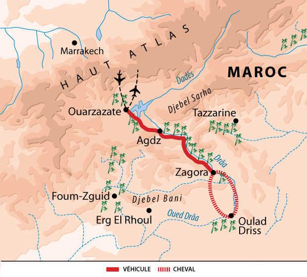 Carte voyage Maroc Sud Cheval