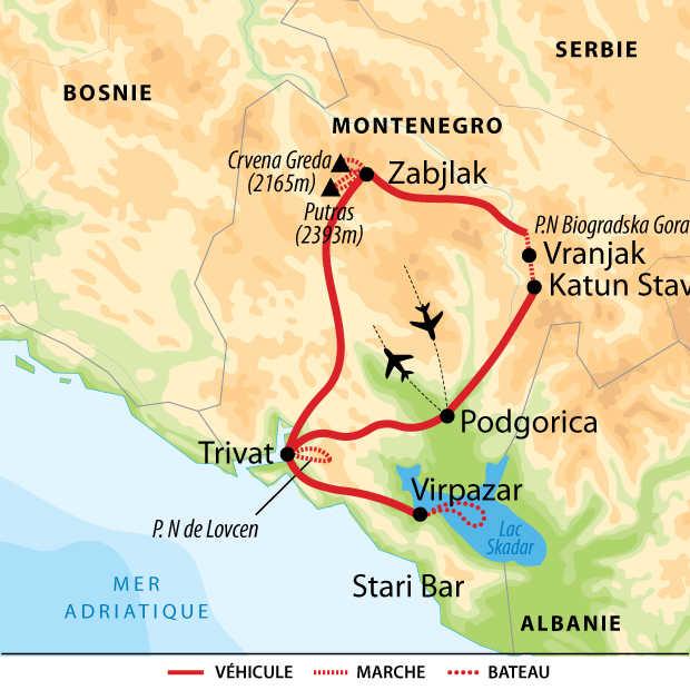 Carte voyage Montenegro Trek