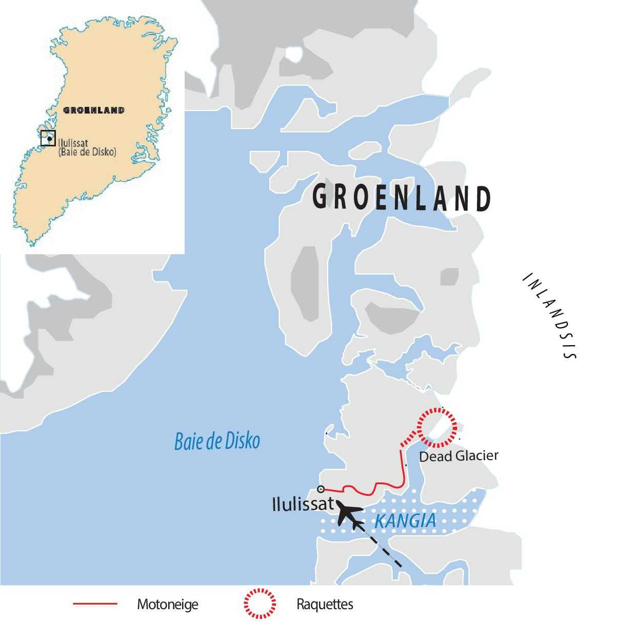 Carte voyage motoneige et raquettes au Groenland l'hiver