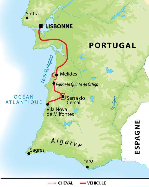 Carte voyage Portugal Alentejo Cheval