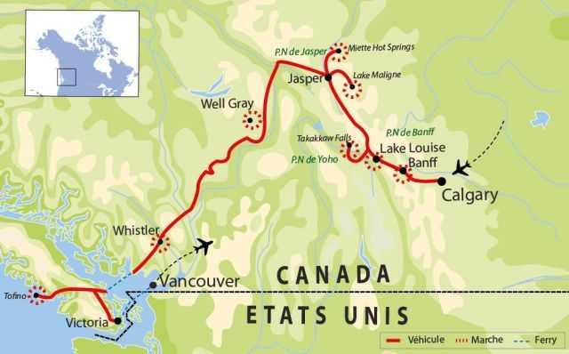 Carte : Voyage rocheuses, Colombie britannique et île de Vancouver
