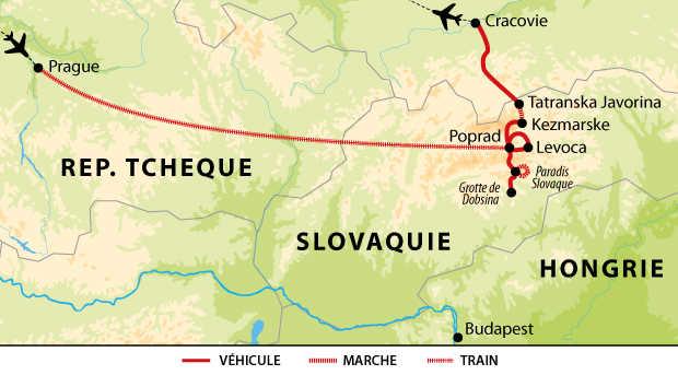 Carte voyage Slovaquie Hongrie Republique Tcheque
