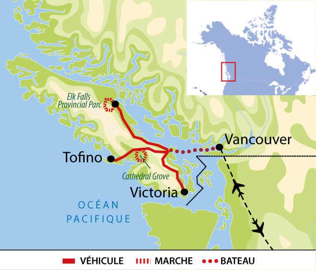 Carte : Voyage sur l'île de Vancouver, Canada