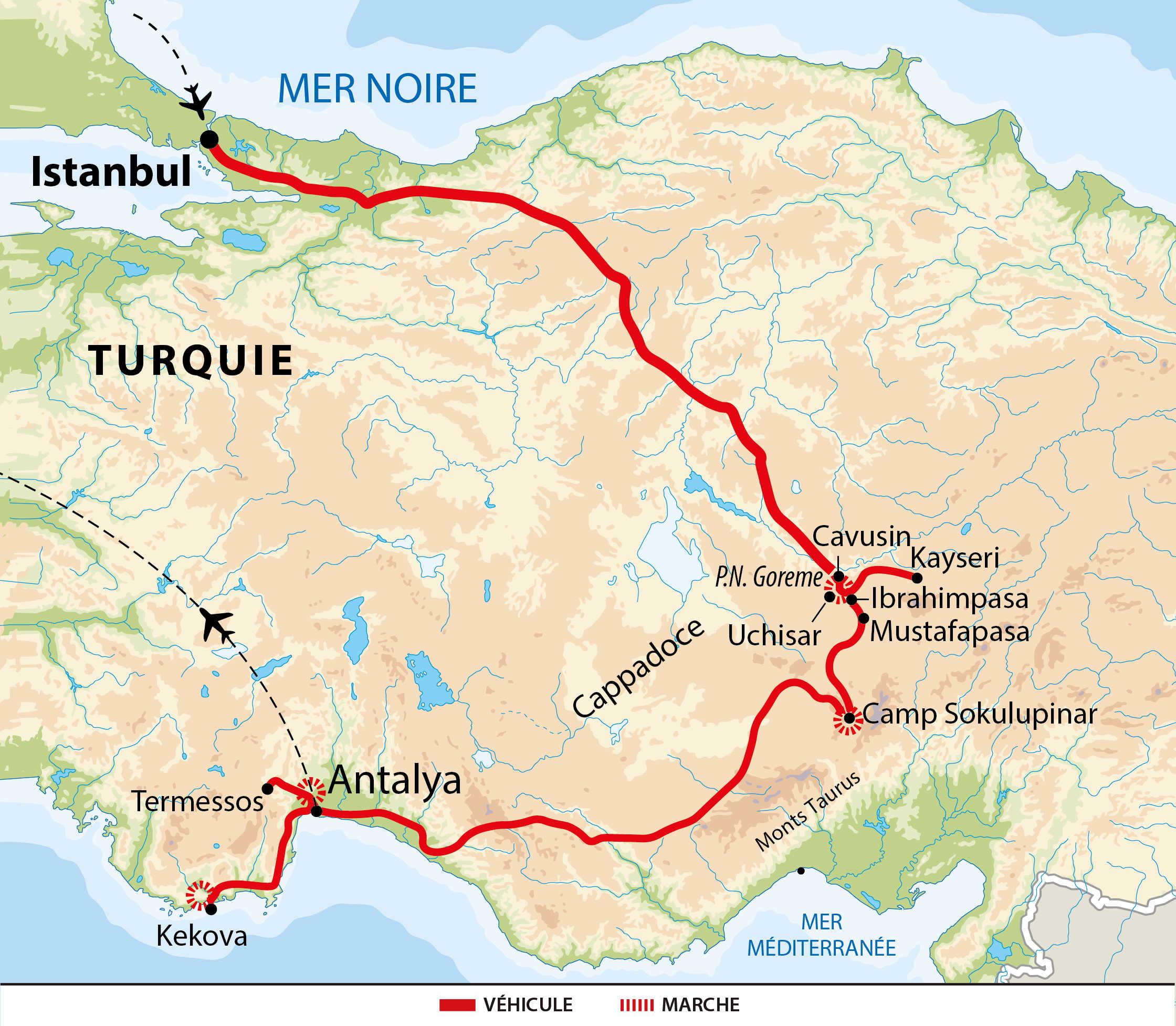 Carte voyage Turquie Liberte Istanbul Cappadoce Taurus Lycie