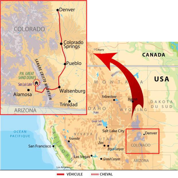 Carte voyage USA Colorado Cheval