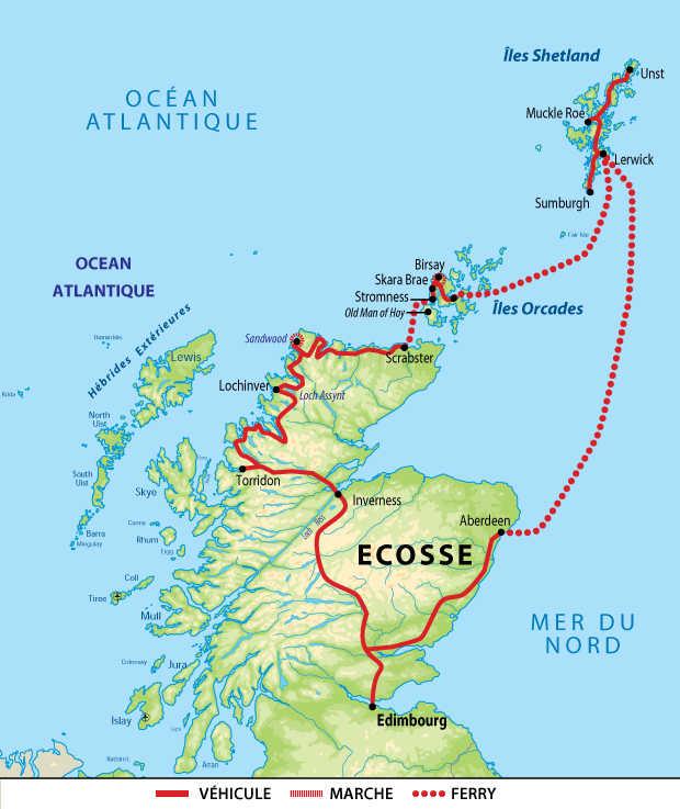 Itinéraire au nord de l'Ecosse