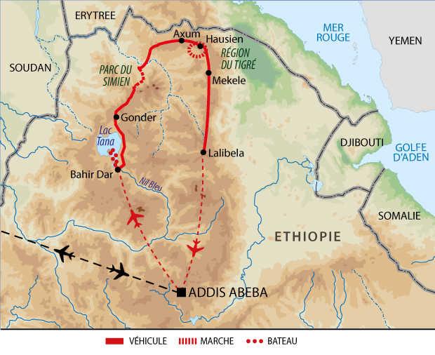 Itinéraire circuit Ethiopie