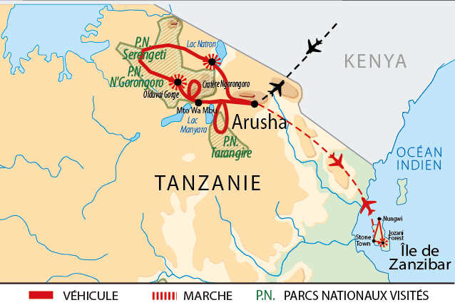 Itinéraire circuit safaris, pays Masaï et Zanzibar