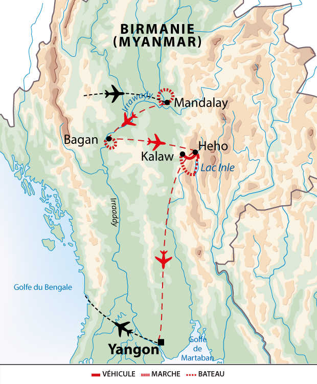 Itinéraire de balades en pays birman