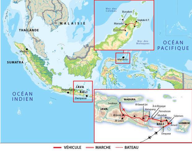 Itinéraire de la découverte active de l'Indonésie