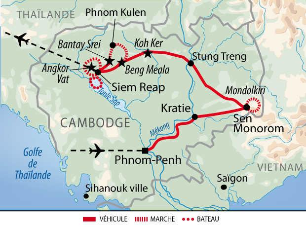 Itinéraire de la découverte khmère