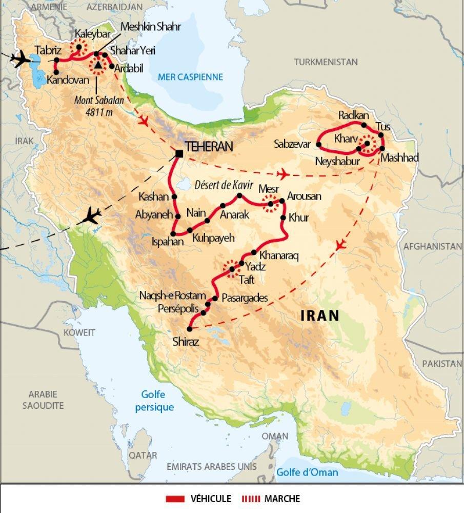 Itinéraire de la grande découverte de l'Iran