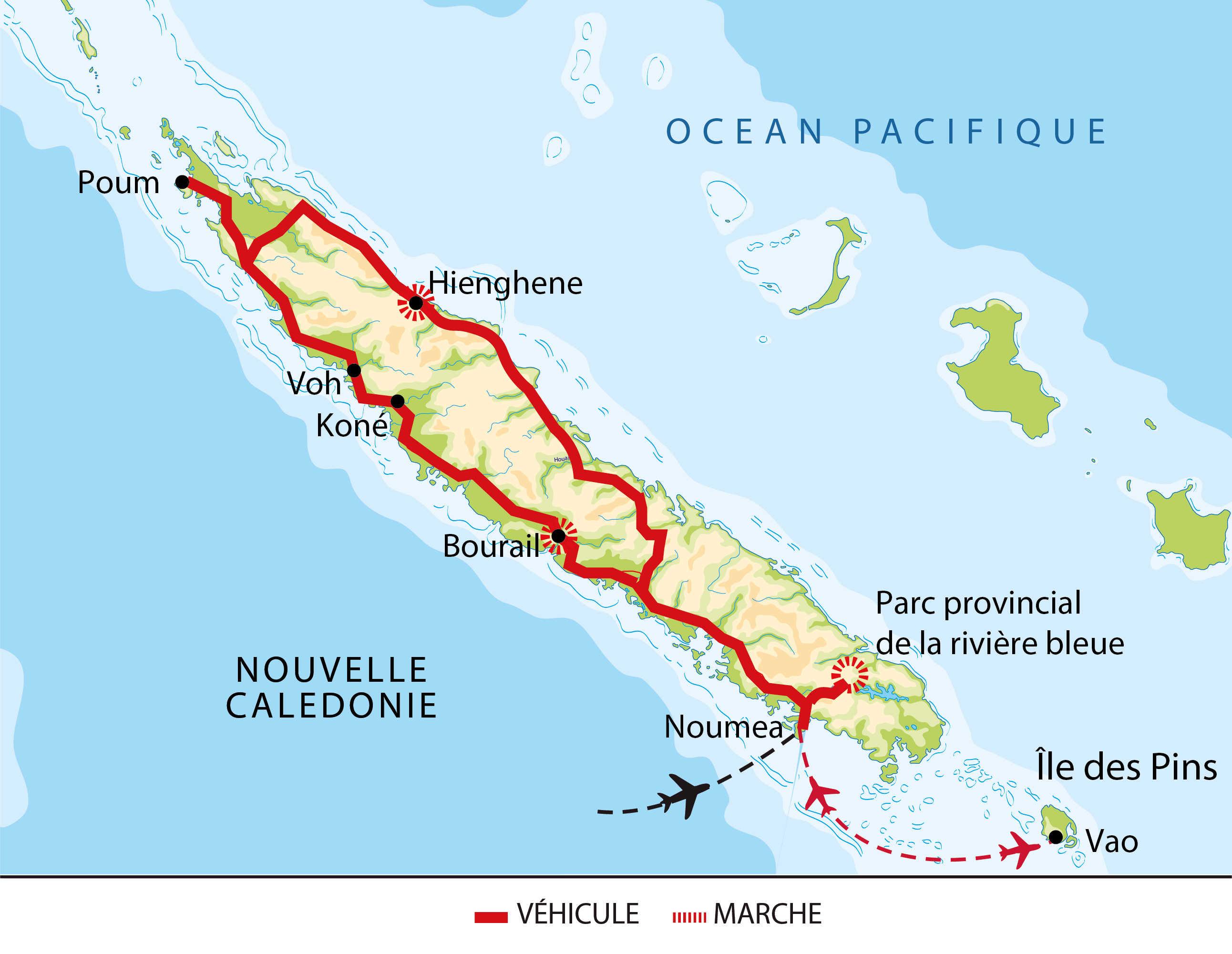 Itinéraire de la Nouvelle Calédonie du nord au sud