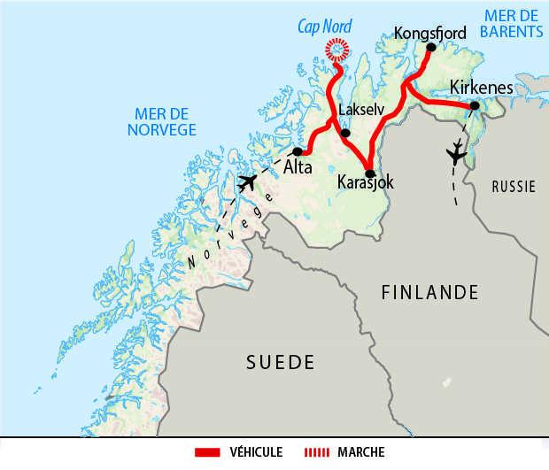 Itinéraire de la traversée du Cap Nord à la Laponie