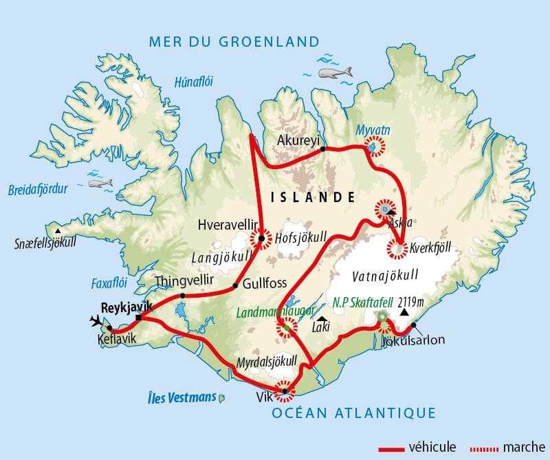 Itinéraire de la traversée islandaise du Nord au Sud