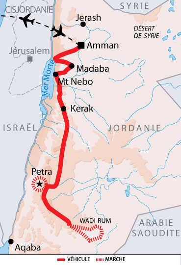 Itinéraire de l'autotour de Pétra au Wadi Rum