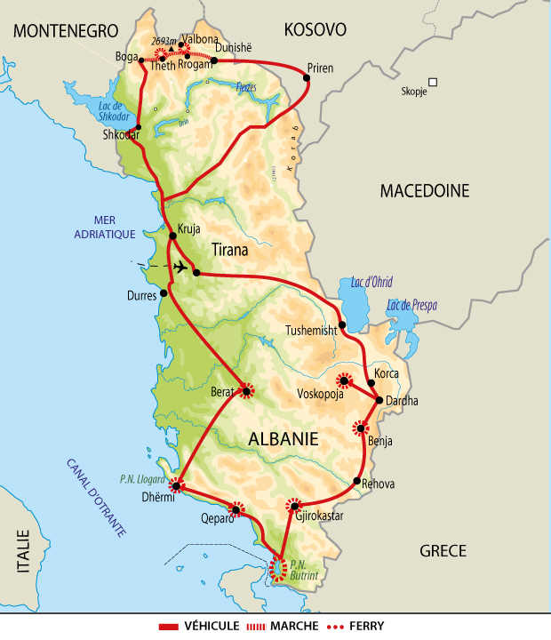 Itinéraire de l'autotour du nord au sud