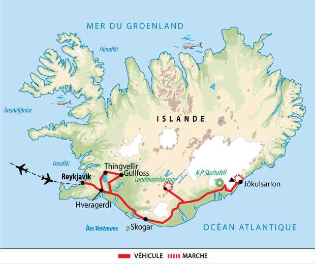 Itinéraire de l'aventure Côte Sud et Landmannalaugar
