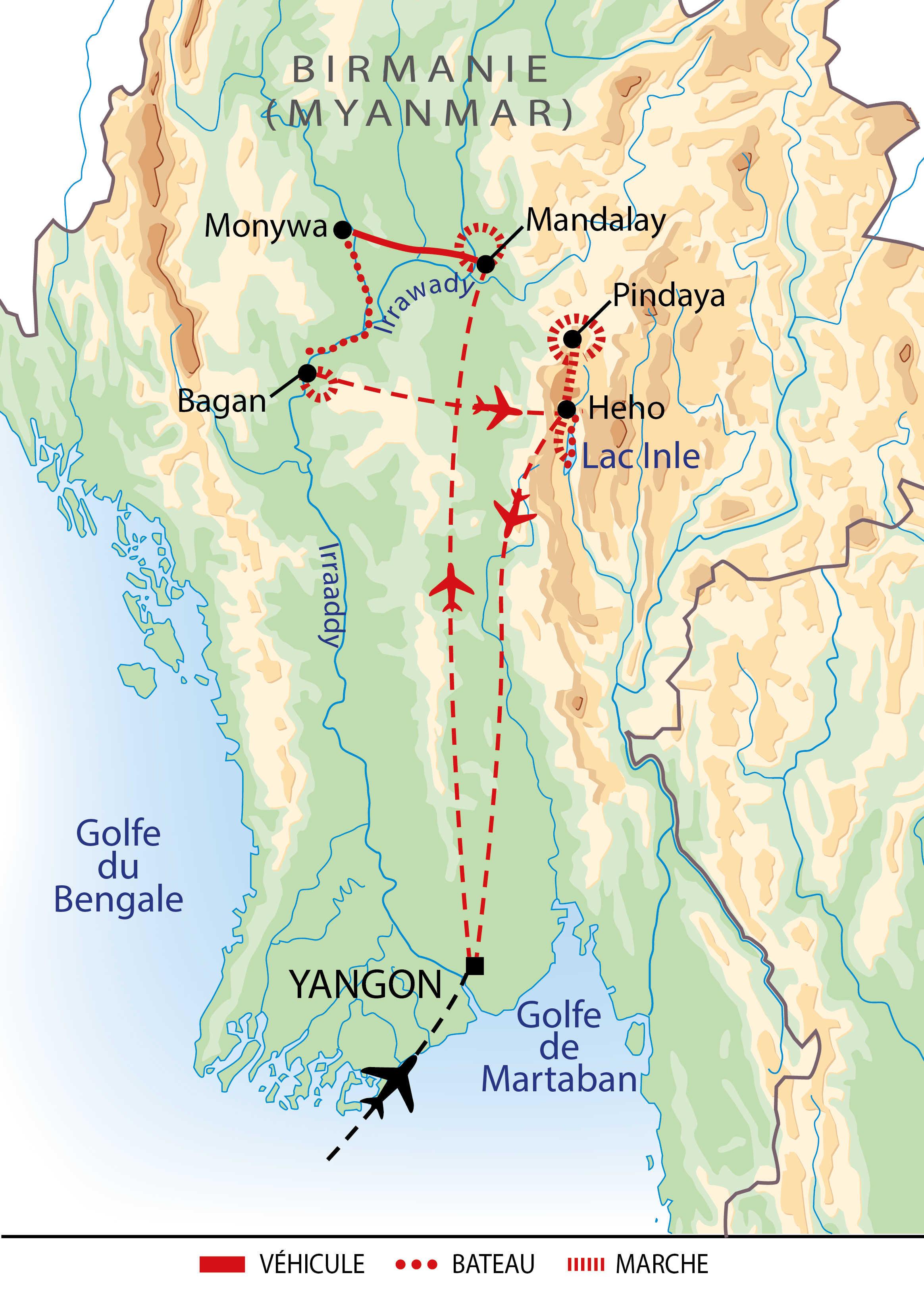 Itinéraire de l'essentiel de la Birmanie