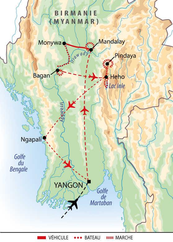 Itinéraire de l'essentiel de la Birmanie et les plages de Ngapali
