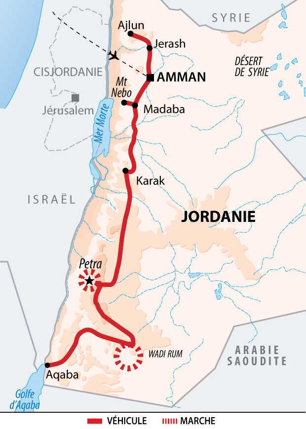 Itinéraire de l'essentiel de la Jordanie