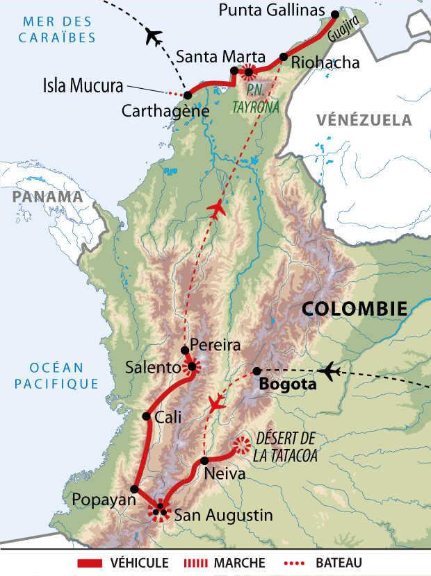 Itinéraire de l'intégral de la Colombie