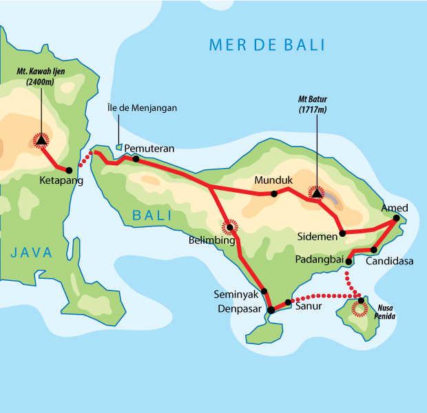 Itinéraire de randonnées et snorkeling