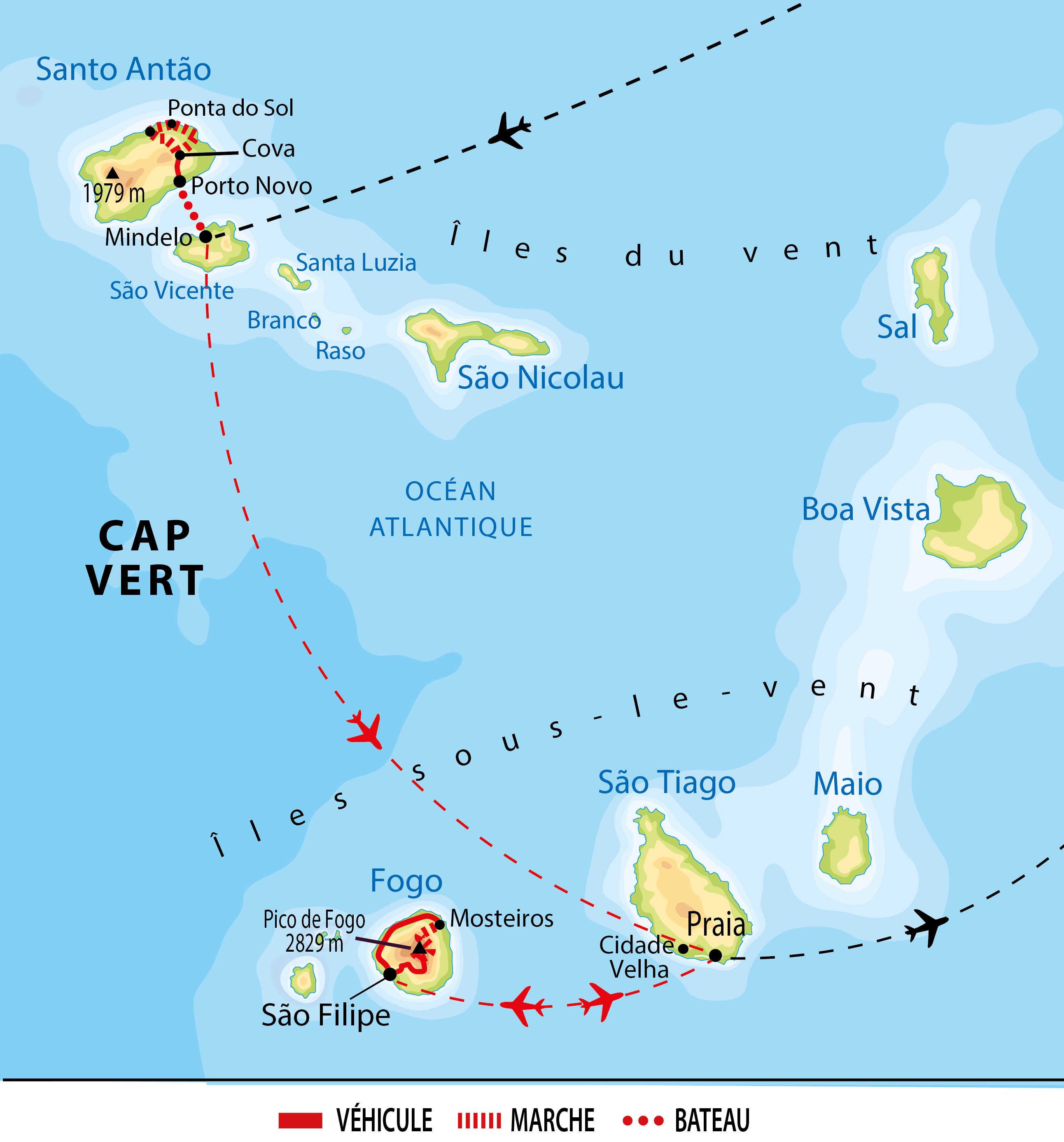 Itinéraire de Santo Antao et Fogo