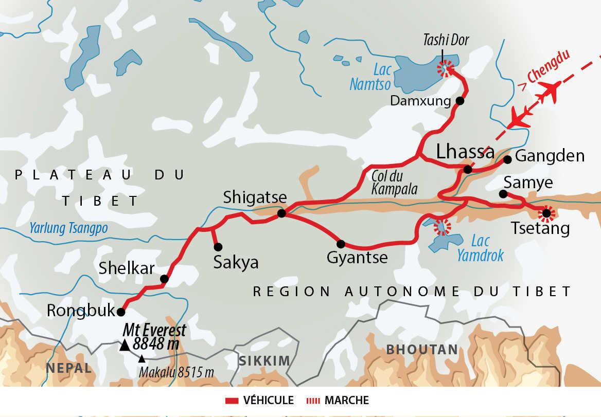 Itinéraire de voyage au Tibet