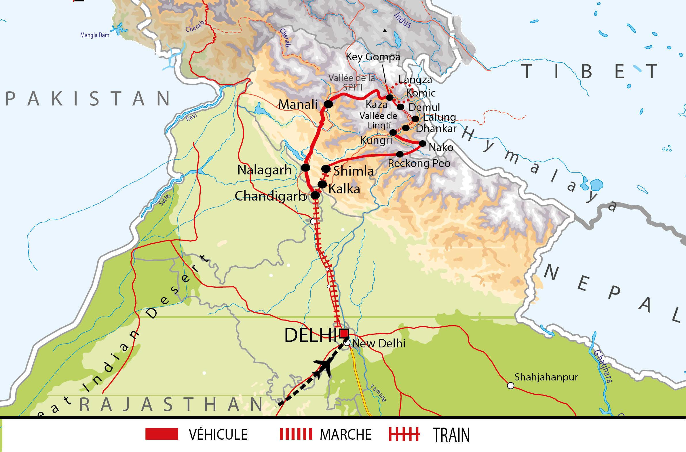 Itinéraire de voyage en vallée de la Spiti