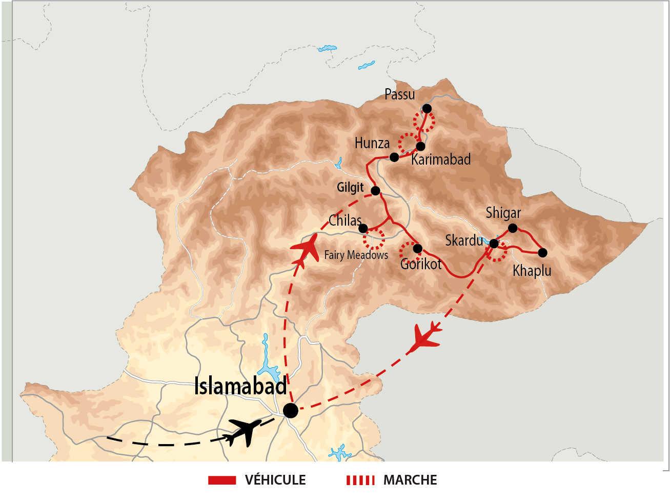 Itinéraire des géants du Karakoram