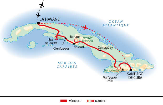 Itinéraire des randonnées sur les toits de Cuba