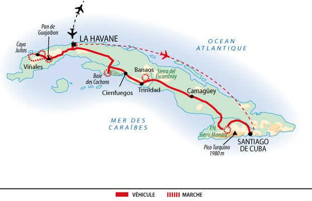Itinéraire des randonnées sur les toits de Cuba en 3 semaines
