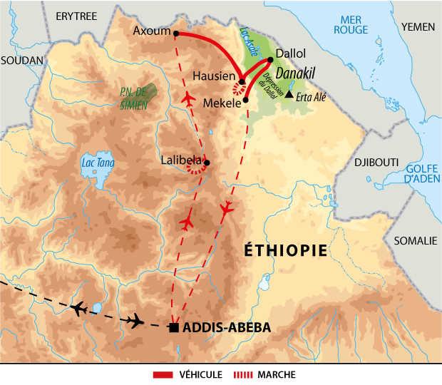 Itinéraire des treks et rencontres en Ethiopie