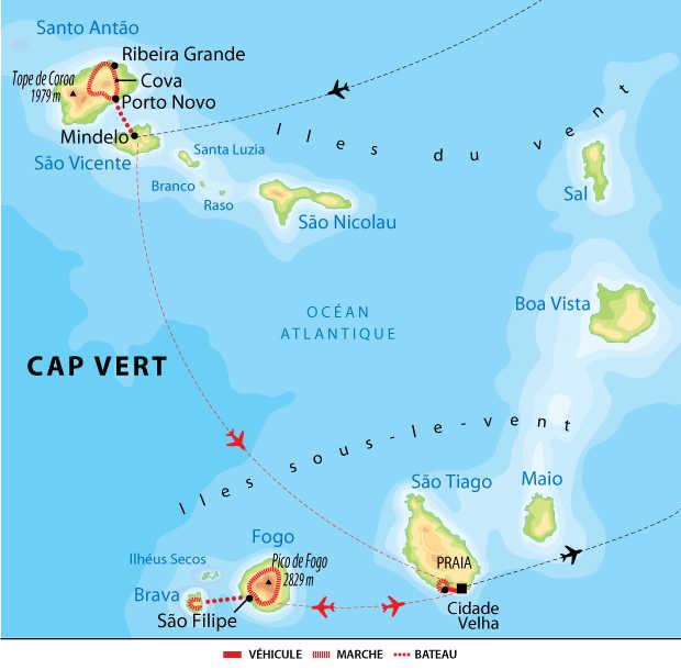 Itinéraire du Cap Vert du nord au sud