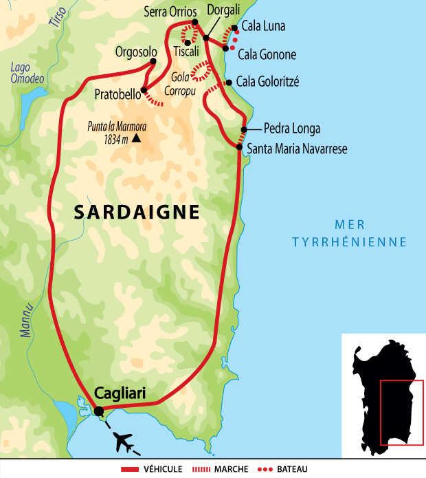 Itinéraire du circuit dans le Massif du Supramonte et golfe d'Orosei
