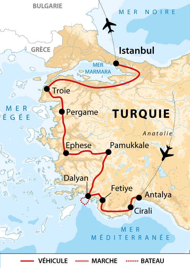 Itinéraire du circuit entre côte Lycienne, Mer Égée et Istanbul