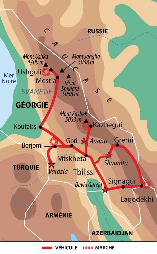 Itinéraire du circuit entre nature et culture en Géorgie