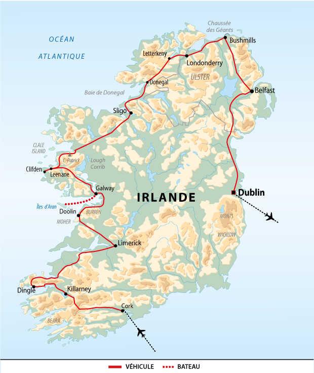 Itinéraire du grand tour de l'île d'émeraude