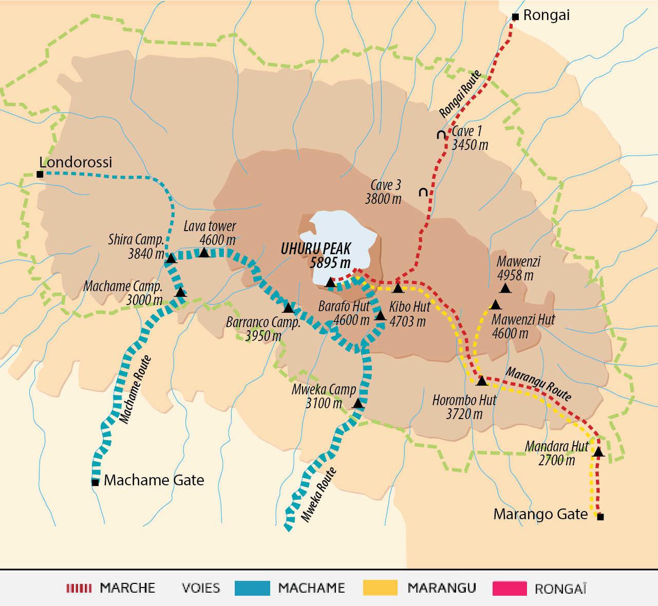 Itinéraire du Kilimandjaro par la Machame