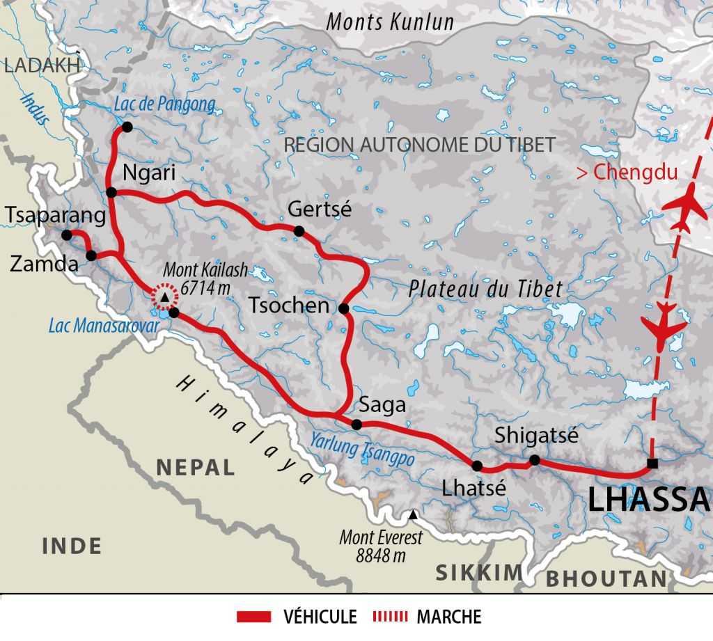 Itinéraire du Kora du Mont Kailash et hauts plateaux du Changtang
