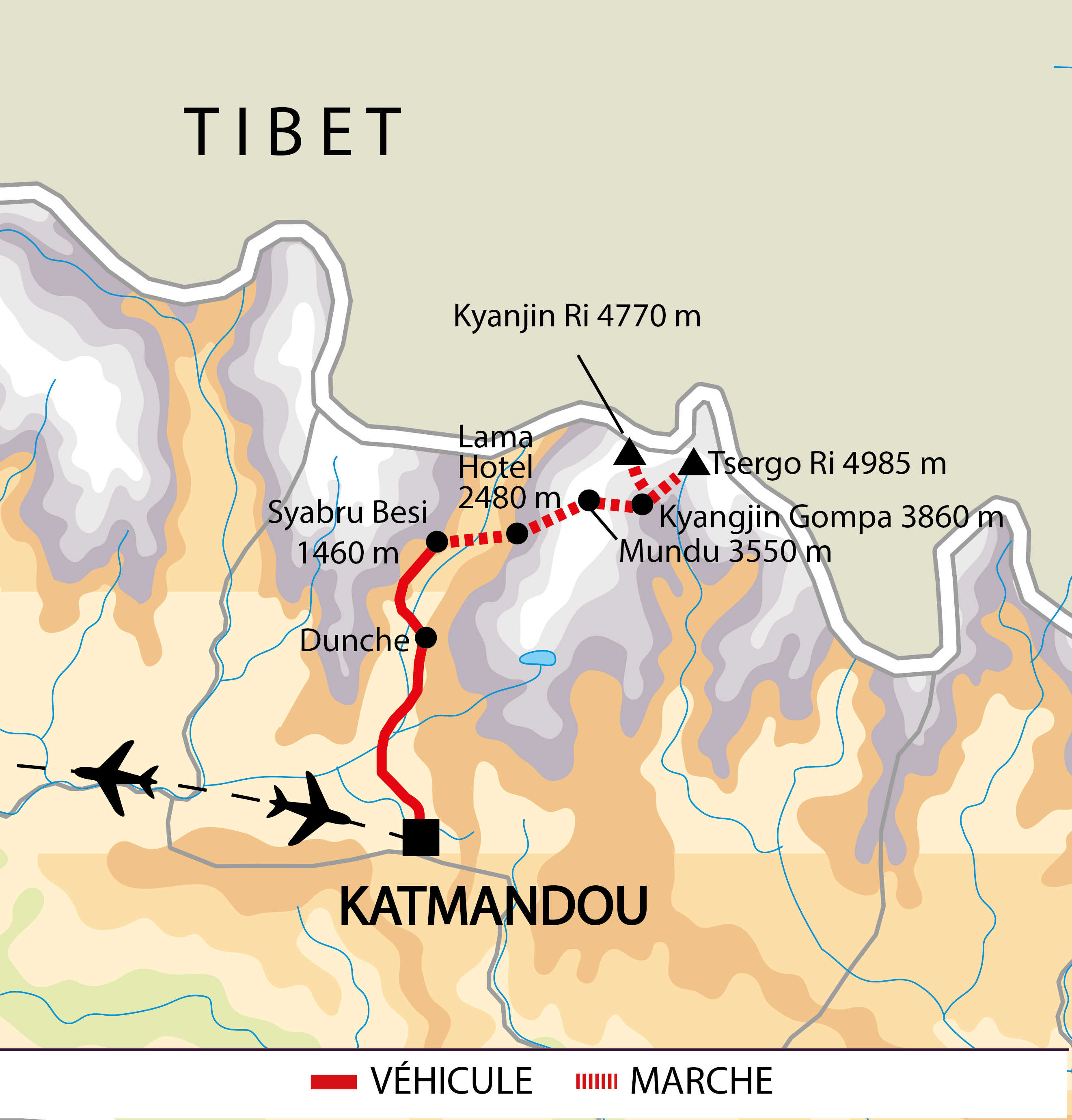Itinéraire du trek dans la vallée du Langtang
