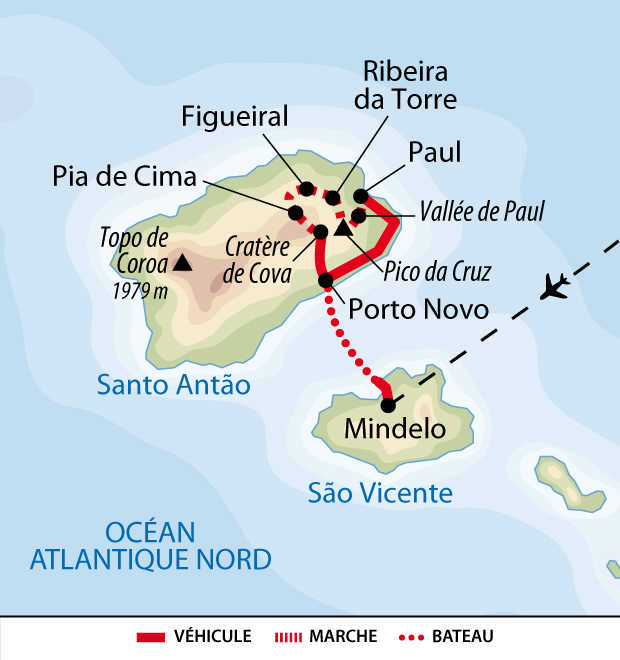 Itinéraire du trek des vallées secrètes de Santo Antao