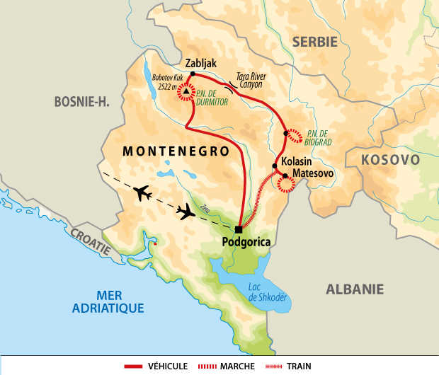 Itinéraire du trek du Monténégro