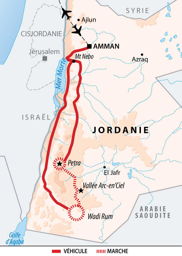 Itinéraire du trek en Jordanie de Wadi Rum à Pétra
