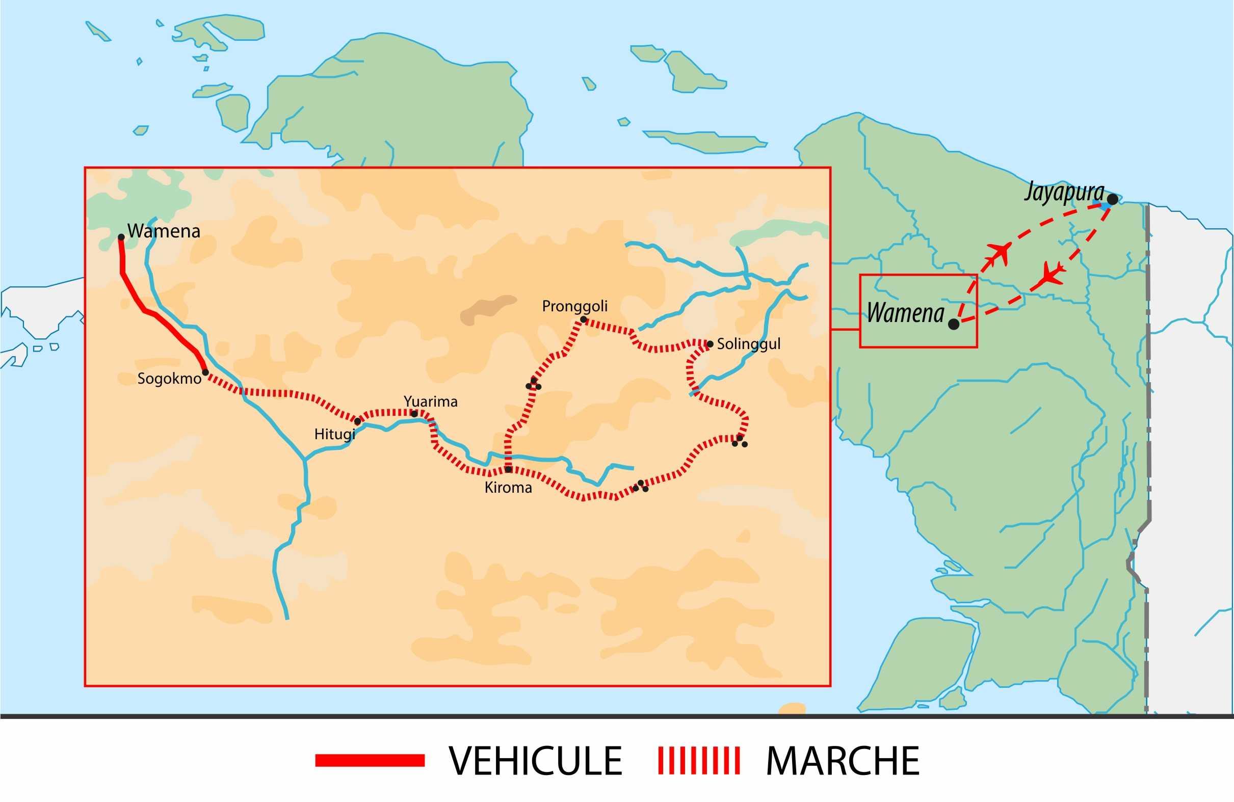 Itinéraire du trek en Papouasie occidentale