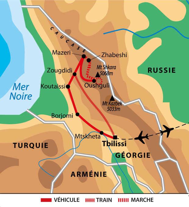 Itinéraire du trek en Svanétie