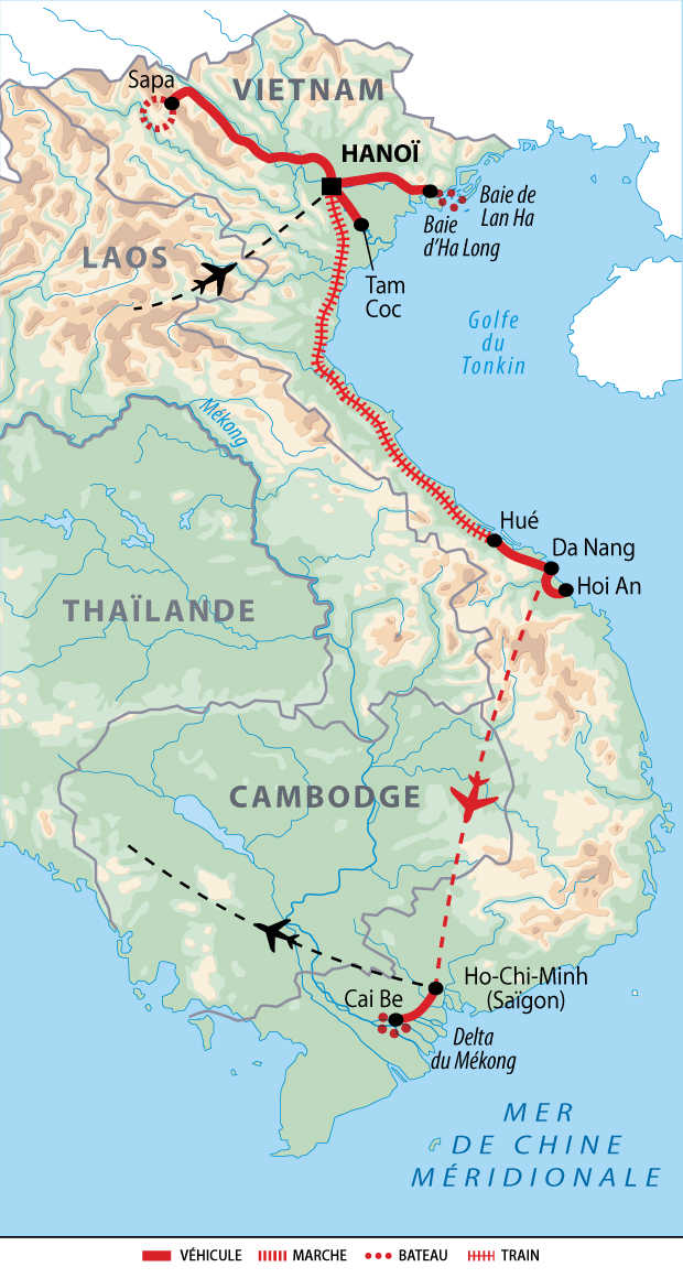 Itinéraire du Vietnam du nord au sud