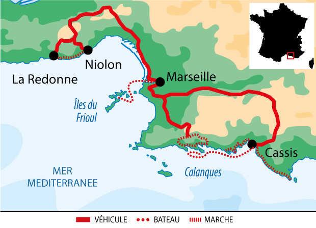 Itinéraire du vieux port de Marseille aux calanques de Cassis