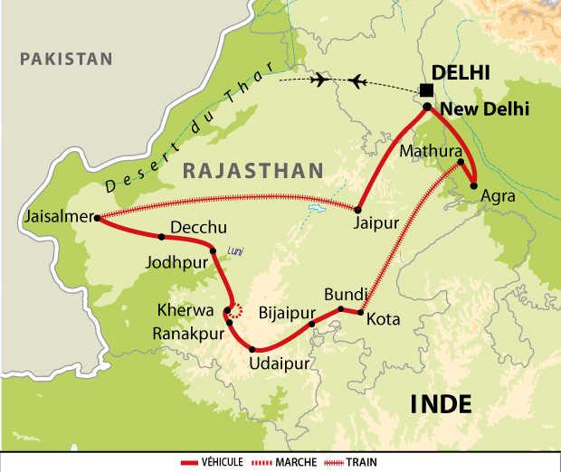 Itinéraire du voyage spécial Holi au Rajasthan